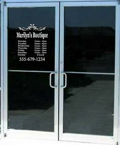 Custom Business Store Hours Sign Vinyl Decal Sticker 18x20 Window Door Glass