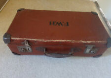 Vintage original genuine initialled brown suitcase from ?1940's / 1950's - used
