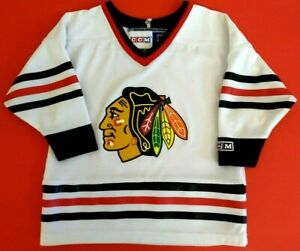 Chicago Blackhawks Youth Toddler 2T-4T CCM White Screen Print Blank Jersey
