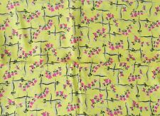 "Deadstock VTG 1940s Pale Chartreuse Silky Flowing Rayon Floral Design 39"" x 3yds"