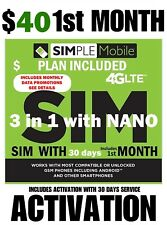 Simple Mobile SIM CARD W/ $40 PLAN 1st month 30 DAYS >> SEE CURRENT DATA PROMO