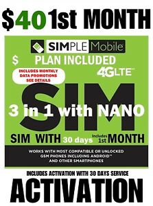 SIMPLE MOBILE SIM CARD 🔥 $40 PLAN INCLUDED 30 DAYS  🔥 NOW 15GB 🔥