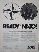 1/1973 PUB TRW SYSTEMS SATELLITE TELECOMMUNICATIONS OTAN NATO SATCOM ORIGINAL AD