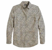 New J.Crew Womans Button Animal Print Shirt Blouse Sz XXL Khaki Blue NWT