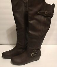 Sale 1 Day Womens Dream Pairs FRANKA Tall Boots Brown Wide Calf 8.5M NEW