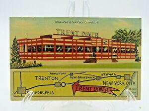 Vintage Linen ROADSIDE Postcard Trent Diner Trenton NJ New Jersey Mellinger PC