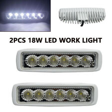Pair of 18W Spreader LED White 6000K 12V Flood Light Stainless Marine Dock Light