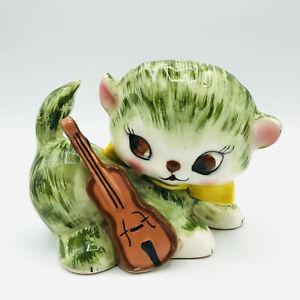 Vintage Green White Kitty Cat Violin Ceramic Figurine Planter