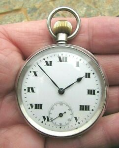 1930's Silver Cased Swiss Made Pocket Watch -GWO & VGC 4 Age - Unbranded