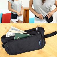 Black Travel Pouch Hidden Compact Security Money Passport ID Waist Belt Fashion