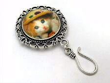 Magnetic Knitting Pin for Portuguese Knitting- ID Badge Holder- Cat & Straw Hat
