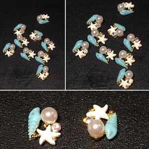 3D Nail Art Rhinestone Charm Starfish Conch Pearl Gold Plated Alloy Decorations
