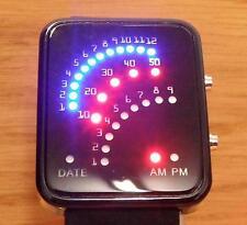 NUOVO Uomo Donna nero acciaio retrò stile BINARIO LED arch MODA digitale watch