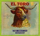 Los Angeles El Toro Longhorn Steer Orange Citrus Fruit Crate Label Art Print
