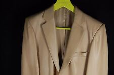 GUCCI BY TOM FORD MEN  Beige FITTED LEATHER JACKET BLAZER EU 50 US 40