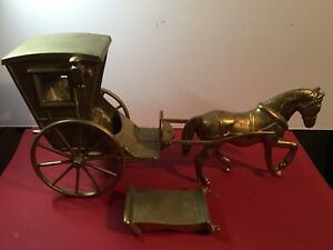 "Vintage Large Heavy Brass Horse and Cart.  6kg + 19"" X 9 1/2"" Inch"