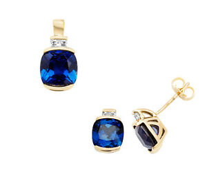 Sapphire Cushion Pendant and Earrings Set Solid 9k Yellow Gold White sapphire