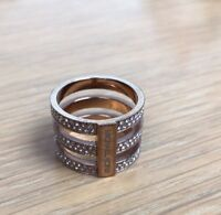 MICHAEL KORS ROSE GOLD TONE LOGO PAVE CRYSTALS RING SIZE 7