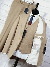 ⭐ mens HARRIS TWEED 3 piece suit jacket waistcoat trousers beige sizes available
