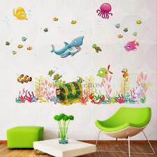 Sea Animal Ocean Fish Wall Stickers Dolphin Bathroom Kids Baby Decals Mural  Art