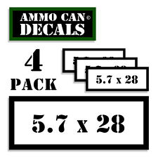 "5.7 X 28 Ammo Can 4x Labels Ammunition Case 3""x1.15"" stickers decals 4 pack WT"