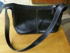 Fossil Womens Handbag Black Leather White Stitching  Zip Top Purse ZB 9092