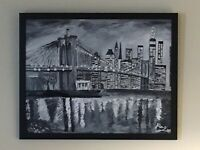 Oil Paintings on Canvas New York City  Life Extra Large Framed 22*28