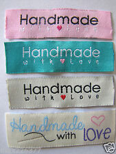 "20 MIX ""HANDMADE WITH LOVE "" SEW ON WOVEN LABELS craft TAGS scrapbook sewing tag"