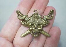 2 Pirate Skull Charms/Pendants - Antique Bronze - 44mm