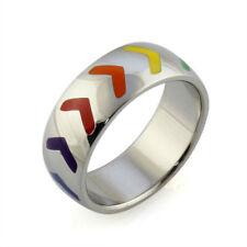 Unisex Gay Rainbow Stripe Arrow Pattern Steel Ring - Various Sizes - Brand New