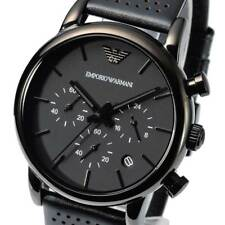NEW EMPORIO ARMANI AR1737 Mens Watch Matte Black Leather Chronograph Quartz