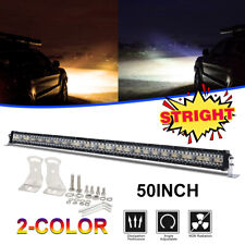 50Inch Strobe Dual Color LED Light Bar Flood Spot Beam 975W 4WD Offroad ATV 52""