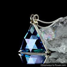 Aqua Aura Star of David Triangle Pendant - Vogel Cut Merkaba 925 Sterling Silver