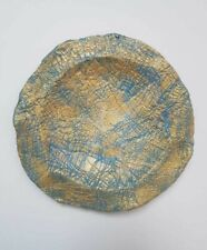 Handmade Decorative Ceramic Plate Blue and Gold patterns