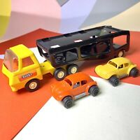 1980s Tonka Car Transporter Small Scale Model Good Condition W/ Two Vw Beetles