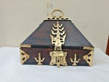 Antique Indian Kerala Treasure Jewelry Box Wooden Box Vintage Brass Work Trinket