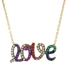 "'Love' Rainbow Cubic Zirconia Script Necklace in Gold-Plated Silver, 16"" + 2"""