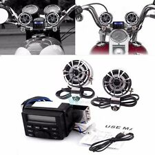 Waterproof Motorcycle Bike Audio FM Radio MP3 Player W 2 Speakers in Handlebar