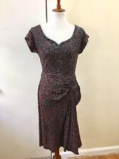 Vtg 1930s Beaded Sequin Bias Cut Dress Crepe M L 30s Glamour Gown Evening