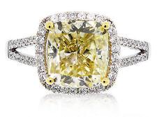 Cushion Cut Fancy Yellow GIA 3.45 Carat Diamond Engagement Ring 18k White Gold