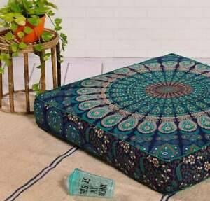 """35"""" Indian Blue Peacock Mandala Square Floor Pillow Case Cushion Cover Dog Bed"""