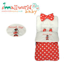 UNIVERSAL FOOTMUFF COSY TOES PERSONALISED PRAM MINNIE MOUSE BUGGY STROLLER GIRLS