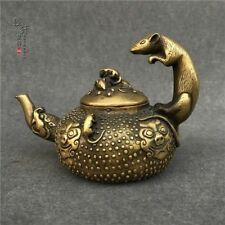 China antique bronze handmade Chinese Zodiac mouse wine pot flagon statue