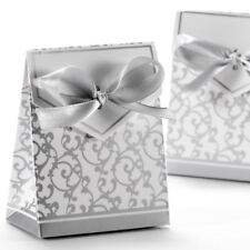 Wedding Favour Candy Gift Boxes with Ribbons 50pcs, Silver