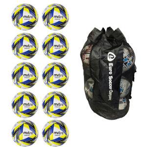NEW Net of 10 Mitre Ultimatch Plus Hyperseam Match Footballs Ball Bag Bundle