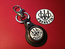 BERETTA SPORTING GUNS:  REAL LEATHER KEY RING  &  FREE BERETTA    PHONE STICKER