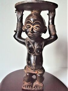 ANTIQUE TERRACOTTA CHOKWE ROYAL QUEEN CARYATID African Carving Statue XRARE!!