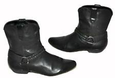 Shubar Black Genuine Leather Western Style Women's Ankle Boots Size 40