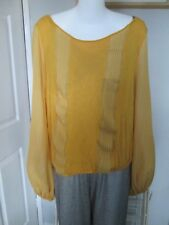 ATMOSPHERE, MUSTARD YELLOW,LONG SLEEVED T-SHIRT TOP Size 16 100% VISCOSE