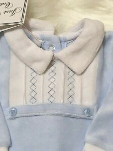 Baby boy Clothes Spanish Style sleepsuit Blue velour Too cute  0-3 months 3-6 m